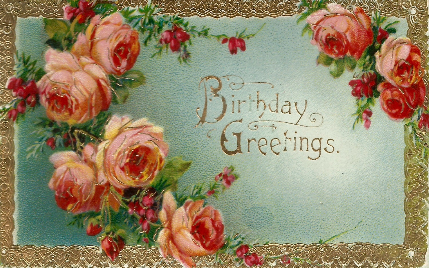 Vintage Floral Roses Birthday Greetings Postcard Digital Etsy