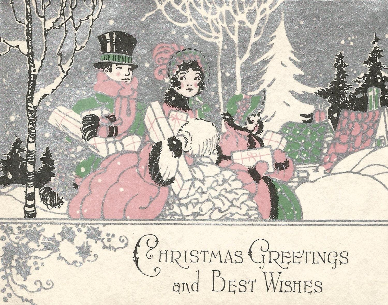 Vintage Art Deco couple Christmas card digital download | Etsy