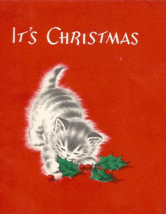 Kitten Christmas Cards.Vintage Retro Christmas Card Kitten Holly Digital Download Printable Instant Image