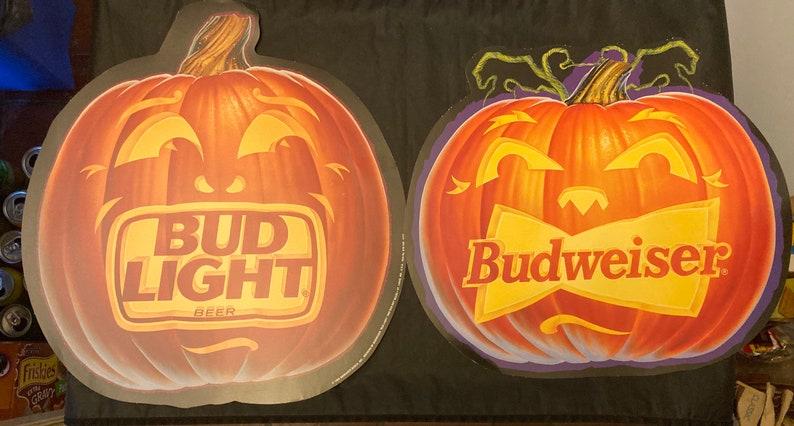 Lot of four Halloween Budweiser Bud Light beer pumpkin die cuts