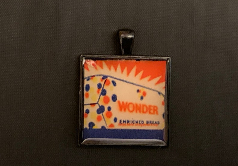 Hand-crafted Wonder Bread advertising sewing kit bezel pendant necklace keychain jewelry