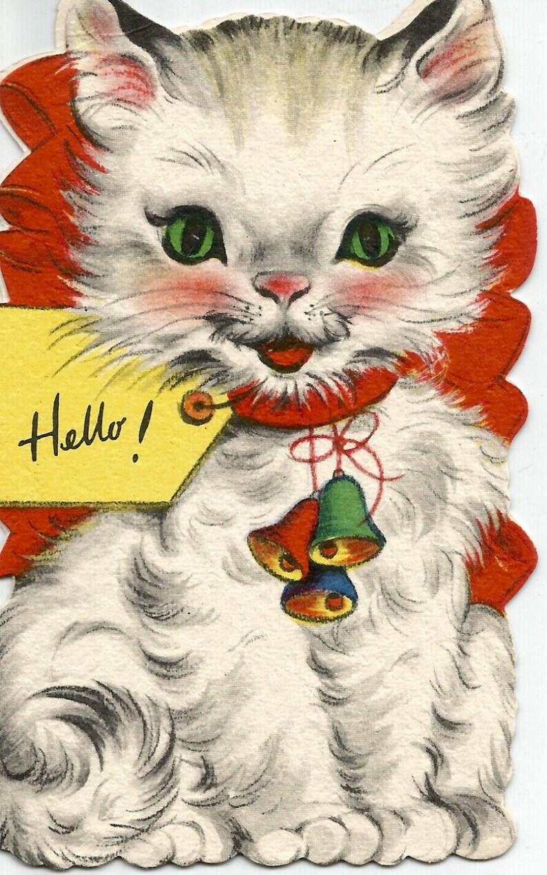 Kitten Christmas Cards.Vintage Christmas Cat Kitten Card Digital Download Printable Image