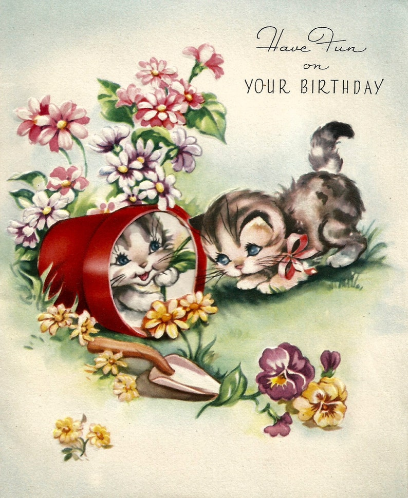 Retro Vintage Birthday Card Cute Kittens Cats Digital Download