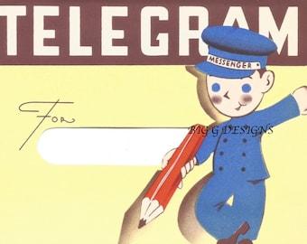 Vintage telegram messenger birthday card digital download printable instant image clip art