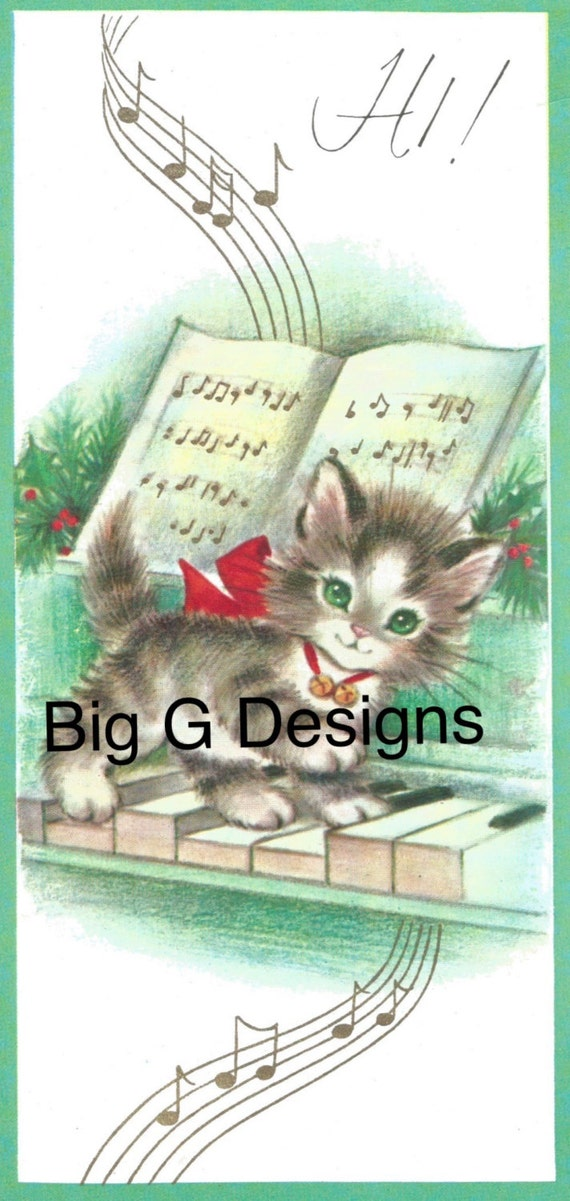 Kitten Christmas Cards.Vintage Rust Craft Christmas Card Kitten On Piano Keys Digital Download Printable Image