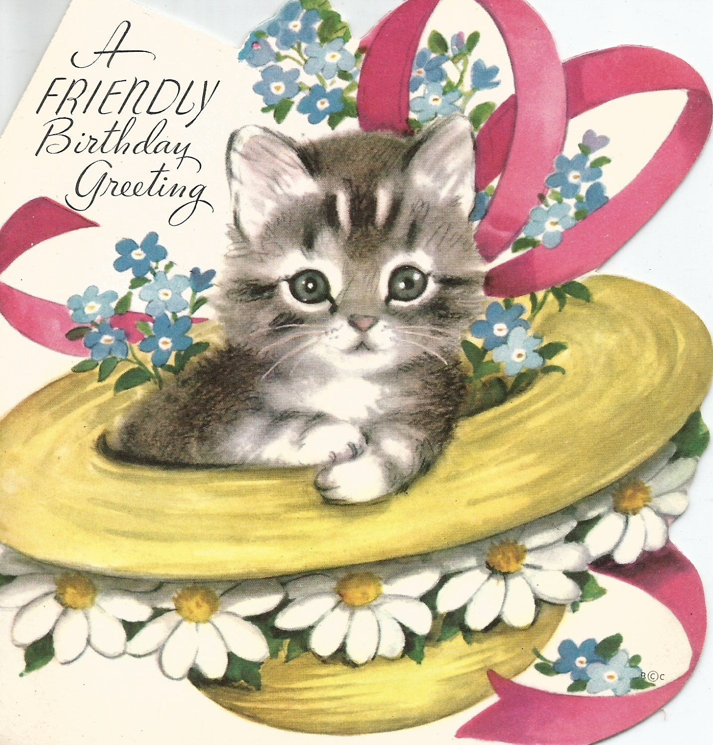Vintage Retro Cat Kitten Straw Hat Birthday Card Digital Etsy