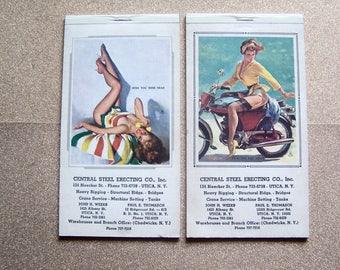 Two vintage Elvgren 1969 1970 advertising pinup girlie calendar pads Utica NY Central Steel ErectingJohn Weeks