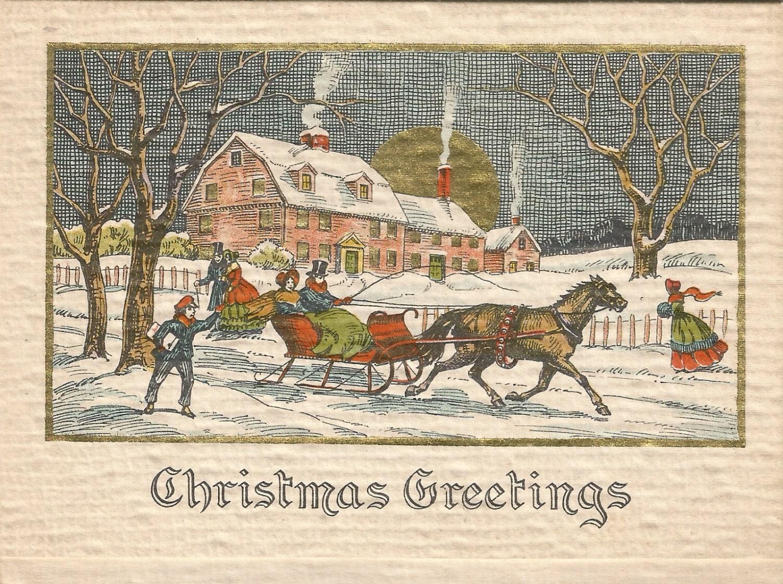 Vintage Art Deco Christmas card Currier and Ives scene digital | Etsy