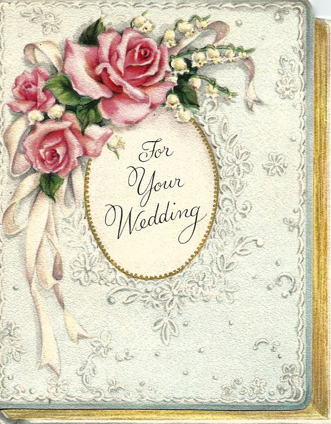 Vintage Wedding Congratulations Greeting Card Floral Flowers Etsy