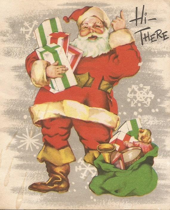 Immagini Babbo Natale Vintage.Cartolina Di Natale Babbo Natale Retro Vintage Digitale Scarica Immagine Istantanea Stampabile