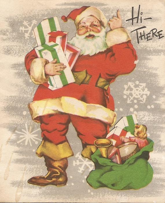 Download Christmas Cards.Vintage Retro Santa Claus Christmas Card Digital Download Printable Instant Image