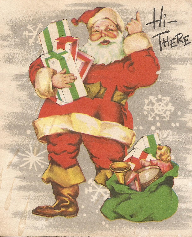 Blue Stars Illustrated Inside Vintage Christmas Card with Santa Claus and Reindeer Unused 10666g
