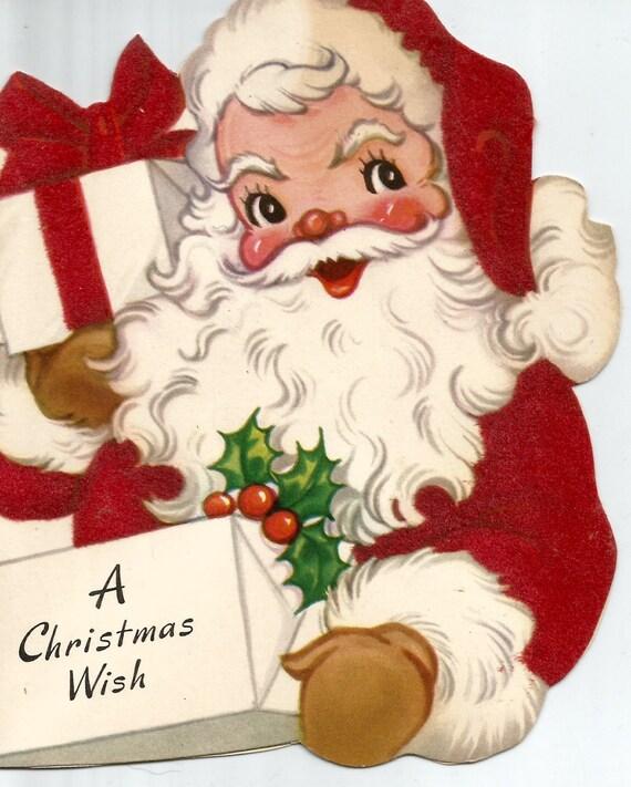 Download Christmas Cards.Vintage Retro Christmas Card Santa Claus Digital Download Printable Instant Image