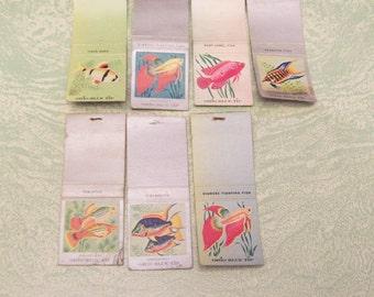 Seven vintage fish matchbooks siamese fighting ruby jewel paradise projects destash