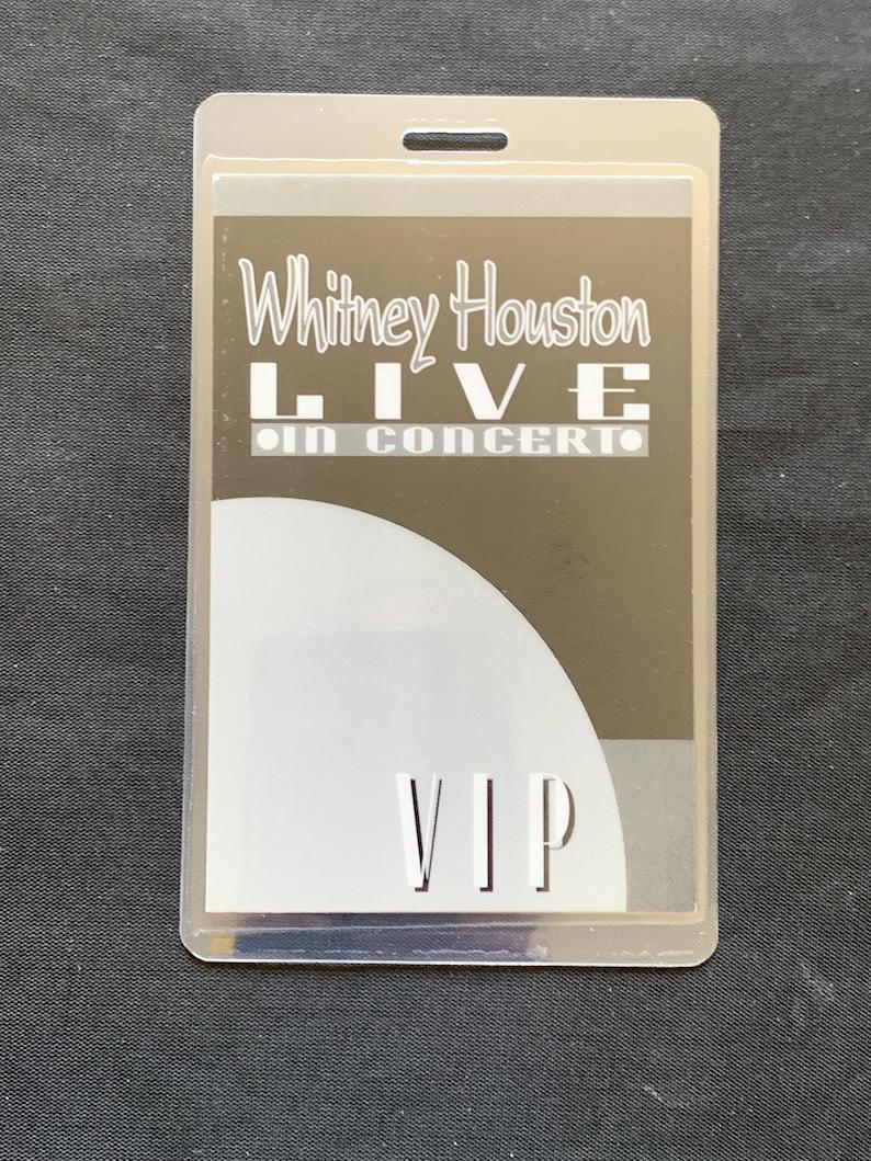 Unused laminated Perri Whitney Houston back stage pass Radio City Bodyguard concert tour