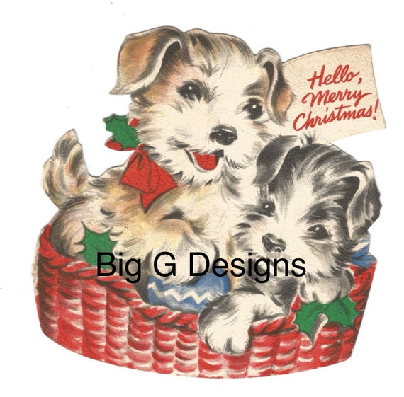 Merry Christmas Puppies.Vintage Merry Christmas Dog Puppies In Basket Card Digital Download Printable Image