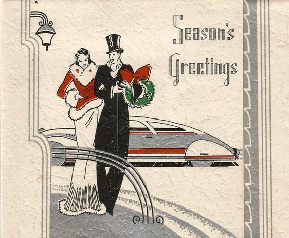 Vintage Seasons Greeting Art Deco Christmas Card Couple Etsy