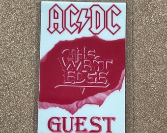 Laminated AC/DC backstage pass glow in the dark