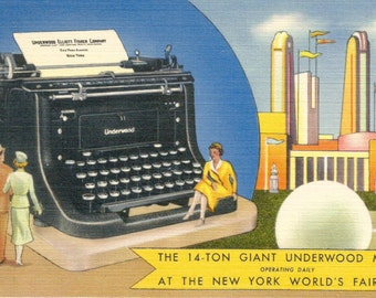 Giant Underwood typewriter New York World's Fair vintage postcard digital download printable instant image