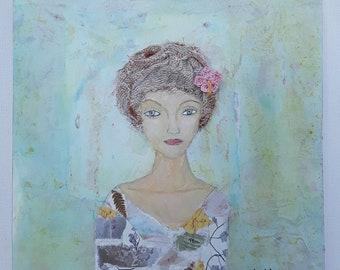 Pretty girl, wall art, shelf decorating, mixed media, art block