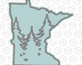 Minnesota Treeline Outline, Two Layers, MN SVG, MN, Minnesota, svg, png, dxf, Trees, Silhouette