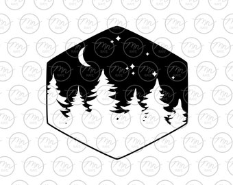 Pine tree starry night svg, Nature svg, Outdoor svg, Nature silhouette, svg, png, dxf, Treeline, Silhouette, starry night svg