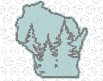 Wisconsin Treeline, two layer, Wisconsin, WI, WI svg, dxf, eps, svg, treeline, pine tree