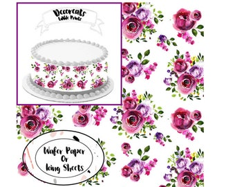 Wafer paper flower etsy floral wafer paper sheetsedible cake wrapsfuchsia wafer paper wafer paper fuchsia flower floral wafer paperfrosting sheets for cakes mightylinksfo