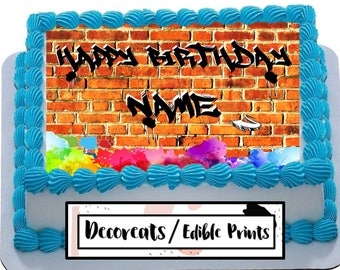 Graffiti Cake Image Birthday 90s 80s Edible Topper
