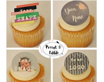 Custom cupcake toppers,edible, custom logo,cupcake,personalized wafer paper,personalized cupcake topper,logo cupcake topper,edible cupcake