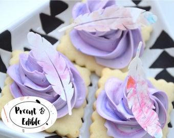 Edible Feathers, feather cupcake, boho cupcake, feather cupcake topper  precut & edible