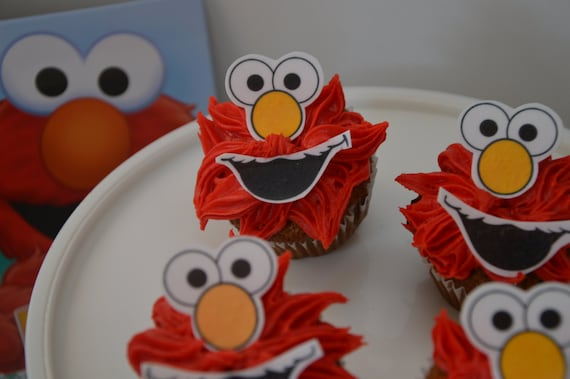 24 Elmo Cupcake Topper Birthday Party Pre Cut Edible Image Sesame Street