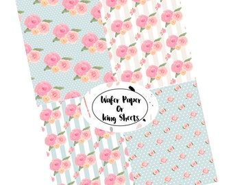 Floral Wafer Paper Sheets, wafer paper sheets, kate spade, inspired, Rustic Wafer paper sheets, Wafer paper sheets, cookie topper