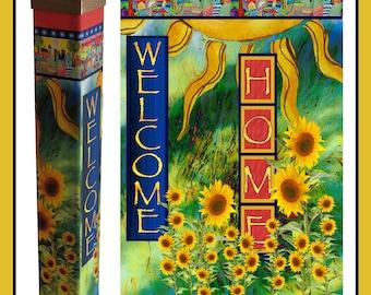"SALE Home Sweet Home Garden Peace Pole Art Work with Solar Light 41"""