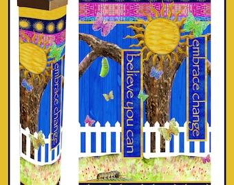 "Embrace Change Garden Pole Solar Light 41"" Butterflies"