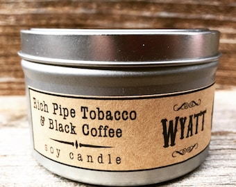 Wyatt Soy Candle-8 ounce-cowboy-man candle-tobacco candle-coffee candle