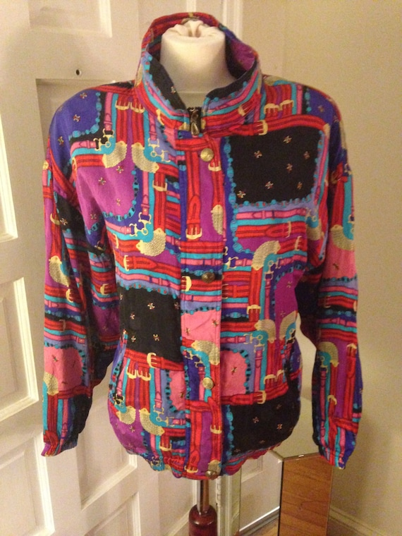 1980s Silk Bomber Jacket with button & zipper fron