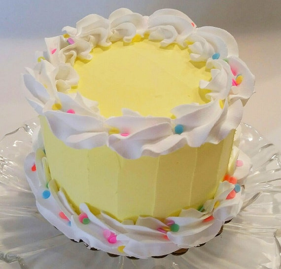 Fantastic Large Yellow Fake Cake Birthday Cake With Confetti Decoration Prop Funny Birthday Cards Online Aeocydamsfinfo