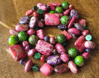 Guirlande d'été - Purple, pink and green aqua terra jasper long necklace.