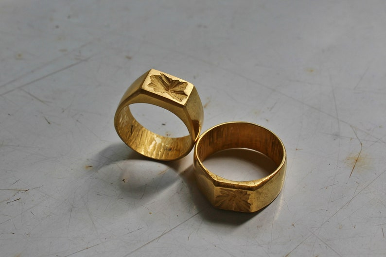 2b8ed28005a40 Solid Gold Signet Ring Men 14k Signet Ring Woman, Unisex Statement Rings  for women Unique mens Rustic ring Rustic Signet ring Real Gold Ring
