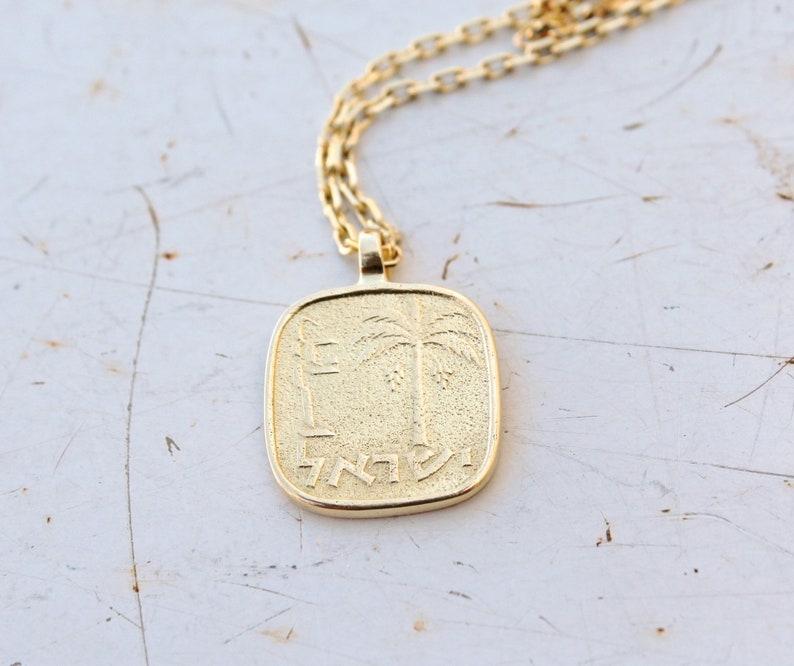 a51f74e3c0b16 Gold Coin Necklace for Women Gold Israel Jewelry 14k Gold Medallion  Necklace 14k Solid Gold Necklace Palm Tree Necklace MINI