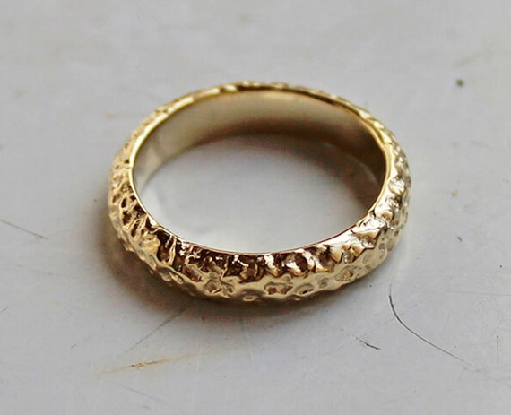 Unique Wedding Band 14k Solid Gold Ring Band Gold Wedding Band Rustic Wedding Band Artisan Textured Wedding Band Solid 14k Gold Ring