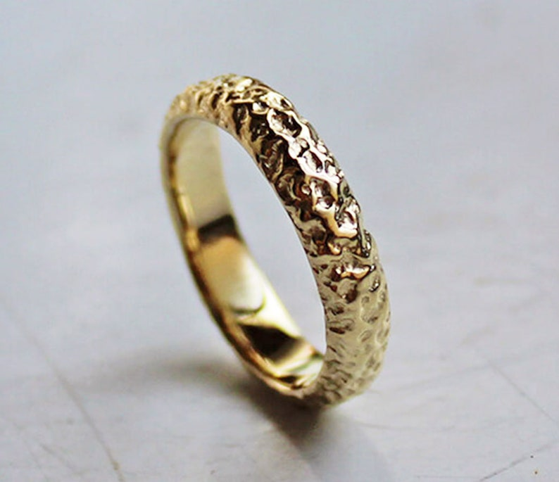 e08dd52085bac Textured Wedding Band 14k Solid Gold Ring Band Rustic Wedding   Etsy