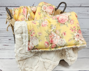 Weighted Blankets, Adult Weighted Blankets, Teen Weighted Blanket, Floral Weighted Blanket, Yellow, Weighted Blanket for her, Sensory