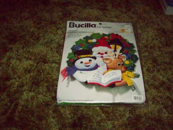 Nouveau kit complet de marque Bucilla Couronne de Noël «Chants Trio» feutre applique #83970 made in USA en 1998