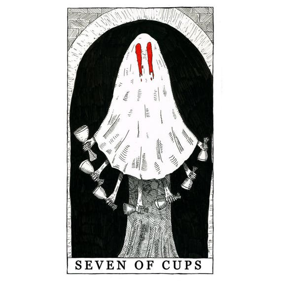 The Seven of Cups Card Poster No Frame 7 of Cups Tarot Card Print