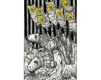 Seven of Stars - Seven of Pentacles - Poster Print - The Tarot Restless