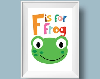 """Colourful Retro Nursery Giclee Print - Slogan 'F is for frog' - A4 or 8x10"""" size - Alphabet Letters Cartoon Poster for Kids Room"""