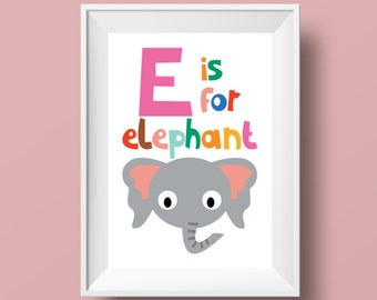 "Colourful Retro Nursery Giclee Print - Slogan 'E is for elephant' - A4 or 8x10"" size - Alphabet Letters Cartoon Poster for Kids Room"