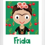 Frida Kahlo Cartoon Wall Art Print . Colourful Illustration. Retro Poster A4 size.